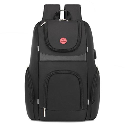 Amzbag 17,3 Zoll Laptop Rucksack Mutil-funktionale Reise Rucksack Business Backpack Computer Tasche mit USB Anschluss Wasserresistent College Rucksack Schule Tasche für Laptop / Ultra-Book / Tablette / Damen / Herren (Schwarz)