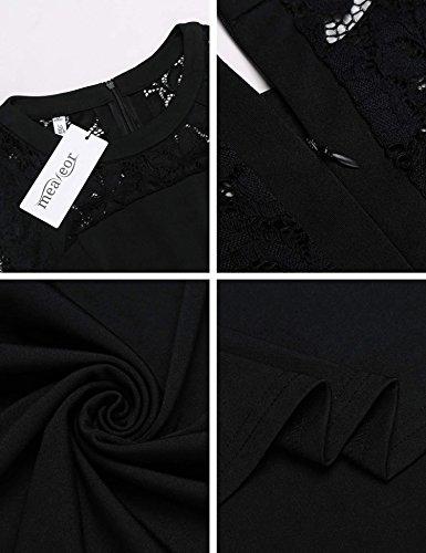 Meaneor Femme Robe Patineuse Sans Manches Dentelle Soirée Vintage Swing Robe Noir