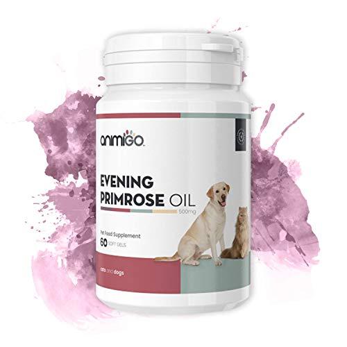 Animigo Aceite de Onagra Cuidado de la Piel y el Pelaje para Gatos y Perros - Ayuda a Mantener Niveles hormonales balanceados - Fuente de ácido linoleico - Potente dosis de 500 MG - 60 Cápsulas