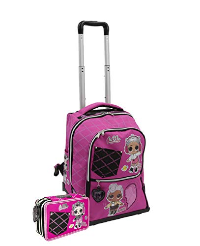 Schoolpack zaino scuola trolley lol surprise spinner 3 ruote + astuccio triplo completo