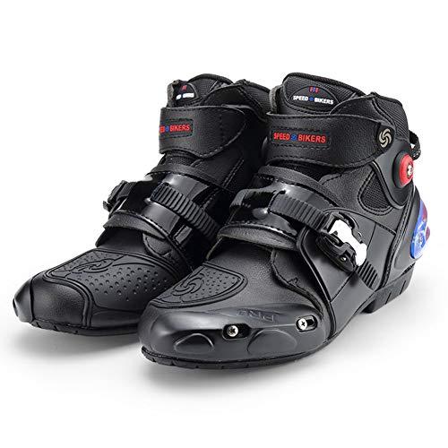 AIFXZ Motorradstiefel Racing Stylist Kurze Stiefelette Motorrad Offroad Tourenschuhe Wasserdicht Gepanzert für Herren,Black-45