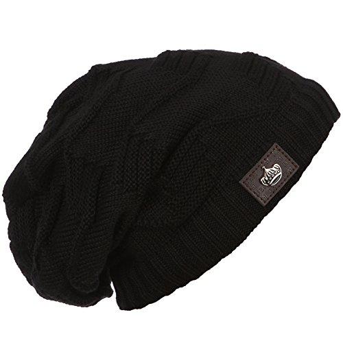 ERIC YIAN Warme Long Slouch Beanie Grobstrick Feinstrick Mütze mit sehr weichem Fleece Innenfutter (Plaid Tartan Flanell)