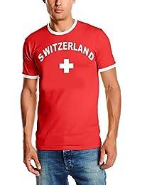 EM 2016 Schweiz Suisse T-SHIRT mit Deinem NAMEN + NUMMER ! Switzerland Fußball Trikot Ringer weiß oder rot S M L XL XXL