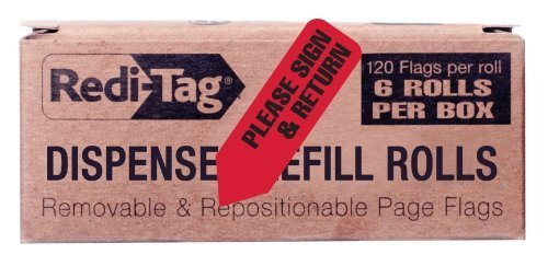 redi-tag-please-sign-and-date-printed-arrow-flags-6-roll-refill-120-flags-per-roll-1-7-8-x-9-16-inch