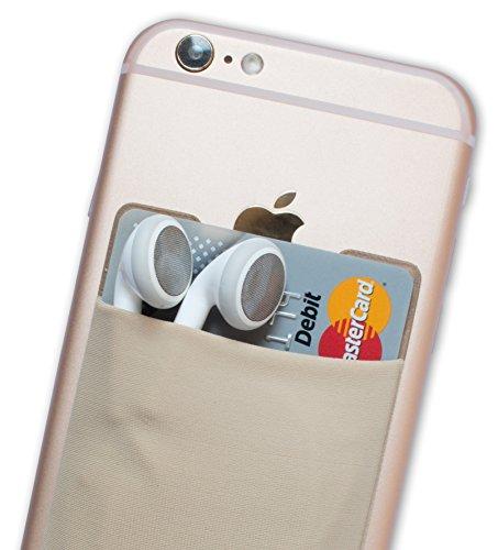Atkolé Wallet - Cover iPhone 7 Plus e Samsung Galaxy S7 Edge Portafoglio Adesivo per Cellulare con nastro 3M (Nero) un Porta Carta di Credito, Porta Auricolari Beige