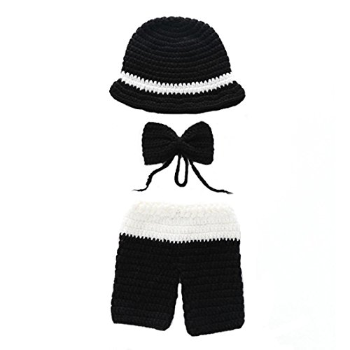 URSING Neugeborenen Foto Kostüm Junge Mädchen Outfit Baby Fotografie Requisiten Cowboy Hüte Gestrickte Mützen+ Hose Stiefel +Krawatte Gentleman Dreiteiliger Anzug Fotoshooting (B)