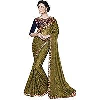 IWS Indian Women Designer Party wear Moss Green Color Saree Sari R-14746