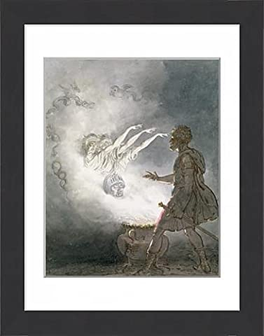 Framed Print of Macbeth and the Apparition of the Armed Head, Act IV, Scene I, from