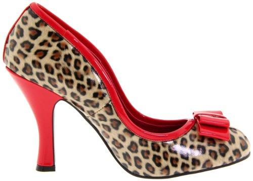 Pleaser Damen Smitten-01 Pumps Tan Pu-Red Pat (Cheetah Print)