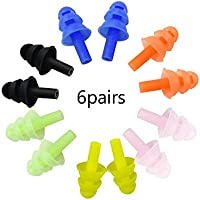 6Pairs Reusable Silicone Swimming Earplugs Soft and Flexible Ear Plugs for Swimming, Learning, Hearing Protection, Concerts, Airplanes, Shooting, etc