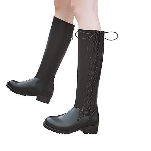TianWlio Boots Stiefel Schuhe Stiefeletten Frauen Herbst Winter Freizeitschuh Schnürschuh Beugen Sie den Knie Rutschfeste Runde Zehe Langer Schlauchstiefel Weihnachten Schwarz 43