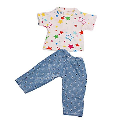 Zolimx Summer Tops + Hosen Kleidung Anzug für 18 Inch American Puppe Zubehör Mädchen Spielzeug Baby ()