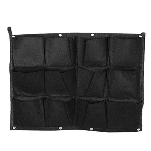 MagiDeal 12-Tasche Hängen Horizontal Gartenmauer Pflanzer Tasche Pflanz Taschen Sack Pflanzsack Pflanztasche Indoor / Outdoor-Kräutertopf