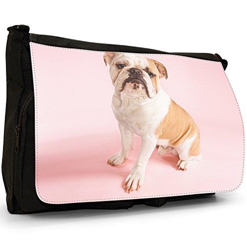 Fancy A Bag Borsa Messenger nero Bull Dog Sitting Bull Dog With Pink Background