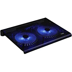 """Base de refrigeración y soporte para portátil y vídeo-consolas con diseño elegante, 2 ventiladores con luz led, Laptop Cooling Pad 2 conexiones USB (10"""" - 17""""), Ergonómico y Ultra-silencioso.(NEGRO)."""