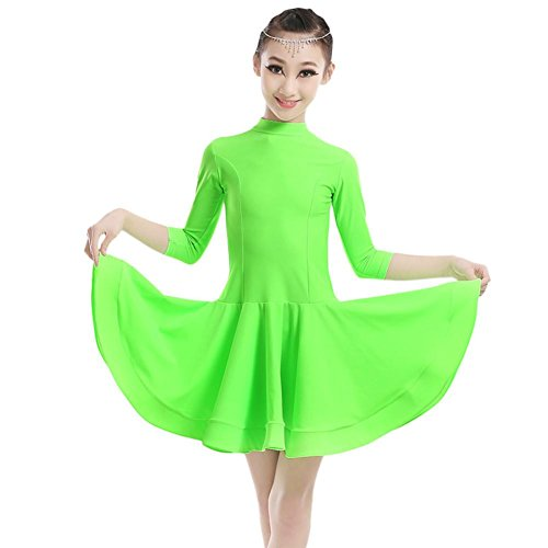 GBDSD Kinder Herbst/Winter Kleid Latin Dance Dress Latin Dance Rock Girl Game-Show Halsband Nylon Rock Kostüm , apple green , 3xl