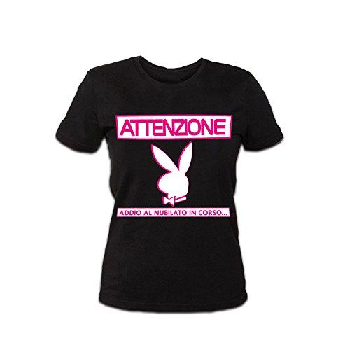 Altra Marca T-Shirt Donna Maglietta per Addii al Nubilato Personalizzata Attenzenzione Coniglietto Nero