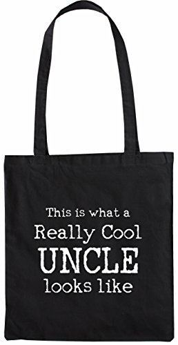 Mister Merchandise Tasche This is what a really Cool Uncle looks like Onkel Stofftasche , Farbe: Schwarz Schwarz