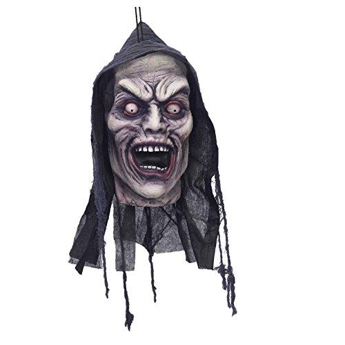 Schreiender Zombie-Kopf Halloween-Hängedeko bunt 23x13cm Einheitsgröße