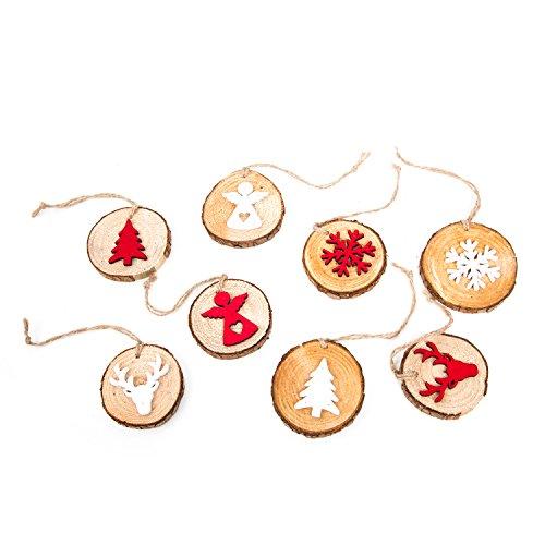 Set: 2x 4pz ciondolo a forma di legno del pendente bianco + rosso marrone natura rotonda albero dischi (5–8cm) con fiocco di neve natale hirsch angelo–ciondolo albero di natale decorazione regali