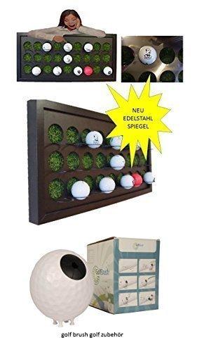 Golfball Setzkasten für 27 Golfbälle mit Kunstrasen spiegelpoliertes Edelstahl + Golf Brush Golfschläger Reiniger reinigung inkl. Wandhalterung (Edelstahl-wandhalterung Regal)