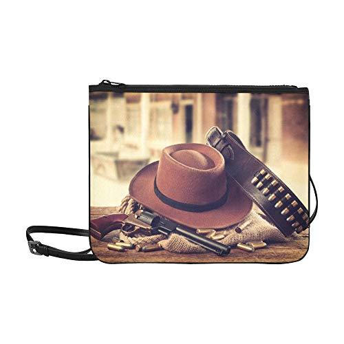 WOCNEMP Cowboy-Mütze und Schal Wilder Westen-Muster Benutzerdefinierte hochwertige Nylon Slim Clutch Crossbody Tasche Umhängetasche Sheriff-holster