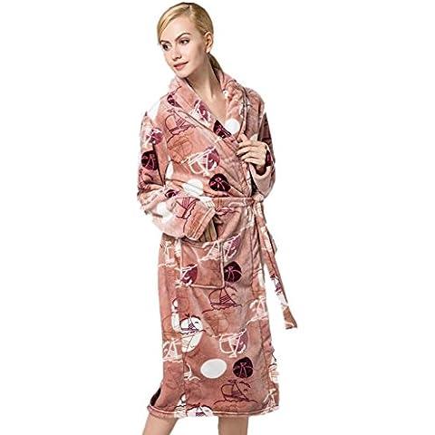 LIUDOULas señoras franela Albornoz Albornoz impresión tie-pijama de paño grueso y suave coralino , 3# ,