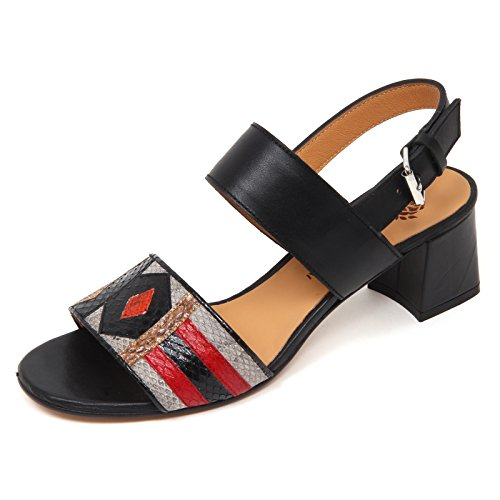 8eeff8e254 D0694 Sandalo Donna MALIPARMI Art Patch Scarpe Nero Shoe Woman [38.5]