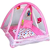 Nagar International Baby Bedding Set/Baby Bedding Set With Mosquito Net And Baby Play Gym With Mosquito Net (Pink Print)