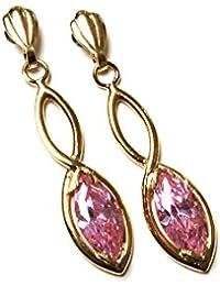 Or 9 carats-Oxyde de Zirconium Rose-Boucles d'oreilles Marquise