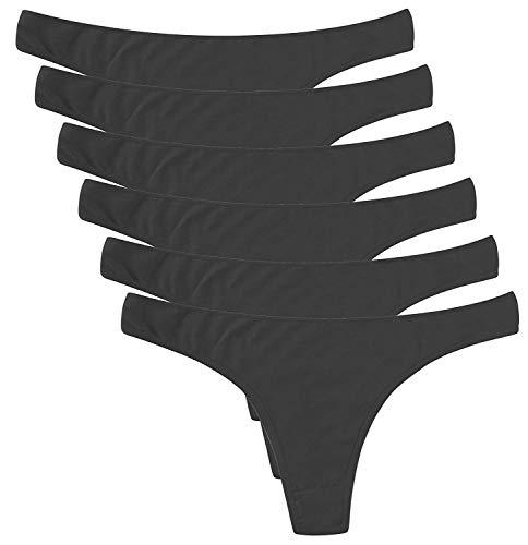 DRESHOW 6 Stück Damen Tangas Unterhosen Baumwolle Atmungsaktiver Slip Bikini Unterwäsche, 6 Pack: 6 Black, M -