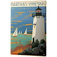 Cartel de chapa Placa metal tin sign Gira Mundial De Martha Vineyard , Massachusetts Faro Velero Island Letrero De Metal 20X30 cm
