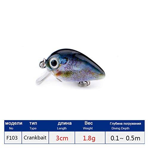 DACCU New Fishing Lure 3cm 1.8g Crankbaits 1pcs Micro Hard Pesca Artificial Baits Mini Lure for Pike Bass Trout,F103F (Gear Savage Bass)