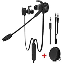 Game Earphone,Plextone Wired Gaming Earphone With Detachable Long Microphone,High Sound Quality Noise Cancellation Earphone,for PC,Mobile,PS4,Xbox,Tablet,Black