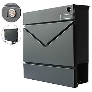 Modern Briefkasten Wandbriefkasten Postkasten Zeitungsfach Zeitungsrolle Edelstahl Stahl V2Aox, Farbe:Anthrazit 6 - Klingel (MB06)