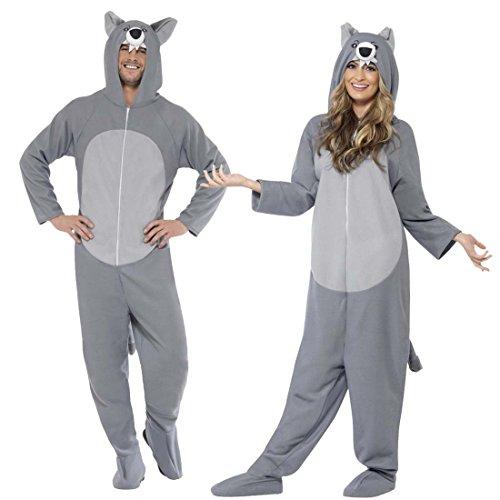 Imagen de mono de lobo disfraz de lobo gris y blanco l atuendo fiesta de lobos vestimenta lobezno adulto traje completo unisex traje animal perro salvaje