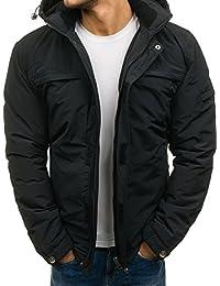 BOLF – Veste d'hiver – fermeture éclair – avec capuche – Basic – Loisir – Homme 4D4
