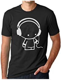 OM3 - HEADPHONE MUSIC BEATS BLACK - T-Shirt INDIE Turntables Underground ELEKTRO SOUND, S - 5XL, noir