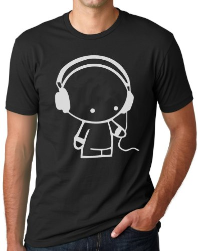 OM3® - Headphone-Music-Beats-WS - T-Shirt DJ Sound Master Indie Wave Turntables Underground Elektro, XXL, Schwarz