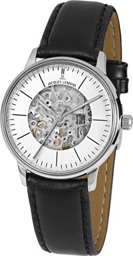 Jacques Lemans Reloj Esqueleto para Unisex Adultos de Mecánico con Correa en Cuero N-207ZA