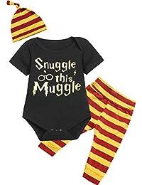 0872c666f731 Catpapa 3PCS Baby Boys Girls Outfit Set Snuggle This Muggle Romper + Pants  + Hat
