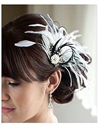 S&E Femmes plume Vintage clip de mariée mariage cheveux nuptiale Fascinator Diadème Blanc