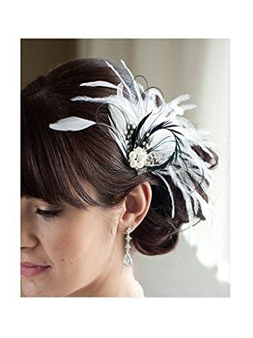 S&E Coiffure avec plume, pince à cheveux, élégante et délicate, vintage, convient aussi au (Piccolo Cappello Pin)