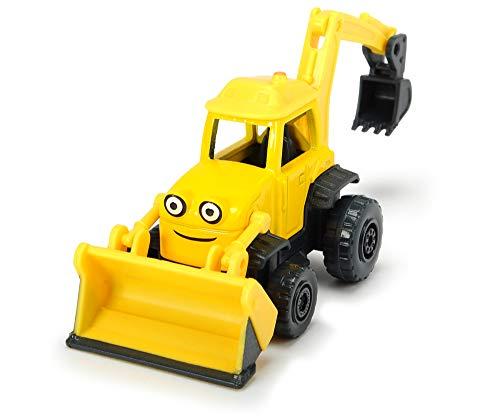 Dickie Toys 203131000 Bob der Baumeister Baggi Spielzeugauto mit Freilauf und beweglichen Teilen, 1:64, Gelb, 7 cm