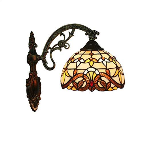 Lampada da parete in stile tiffany, applique da parete in vetro colorato, lampada da comodino per camera da letto lampada da parete in stile barocco per