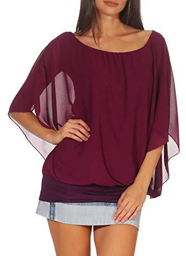malito more than fashion Damen Bluse im Fledermaus Look   Tunika mit Rundhals und breitem Bund   Blusenshirt Kurzarm   Elegant - Shirt 6296 (lila)