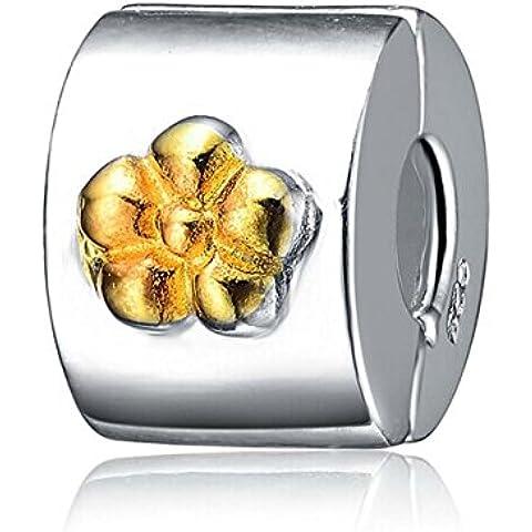 L'oro clip del fiore del branello-925 fascini dell'argento sterlina - Fascini Del Cuore Di Vetro