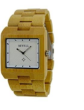 Bewell Casual Armbanduhr Handgefertigt Natürliche Holz Armbanduhr für Herren W016A (Beige)