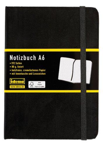 Idena 209285 - Notizbuch DIN A6, 192 Seiten, 80 g/m², liniert, schwarz