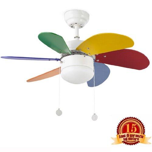 PALAO FARO 33179 - Ventilador de techo con luz 6 palas de MDF multicolor, Diámetro 760mm, Accionado por cadena